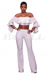 "THE ""MANDY"" RUFFLE OFF SHOULDER LUXURY BELTED JUMPSUIT... WHITE..."