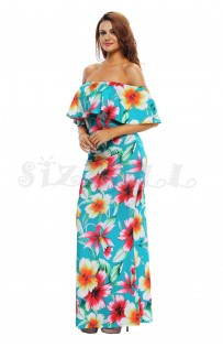 "THE ""RENA"" TURQUOISE FLORIAL PRINT OFF SHOULDER LUXE MAXI DRESS..."