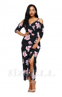 "THE ""ANNABELLE"" LUXE FLORAL COLD SHOULDER MAXI DRESS.... BLACK  FLORAL...."
