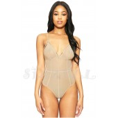 "THE ""KIMMY"" LUXE SHEER CAGE STRAP DESIGN NODYSUIT... NUDE..."