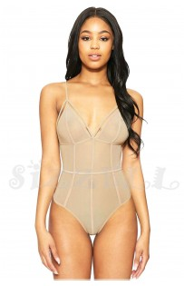"""THE """"KIMMY"""" LUXE SHEER CAGE STRAP DESIGN NODYSUIT... NUDE..."""