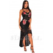 "THE "" GYPSY ROSE"" EMBROIDERED FLORAL & LACE LUXURY DRESS..."