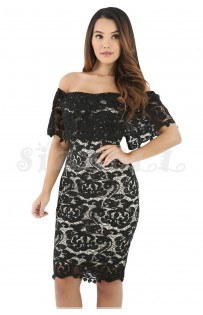 "THE ""LIV"" LUXURY LACE OFF SHOULDER BODYCON DRESS...  BLACK..."