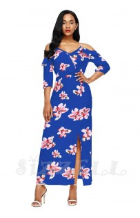 "THE ""ANNABELLE"" LUXE FLORAL COLD SHOULDER MAXI DRESS.... ROYAL BLUE FLORAL...."