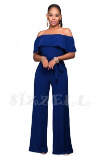 "THE "" ANNE"" LUXE OFF SHOULDER RUFFLE JUMPSUIT... ROYAL BLUE..."