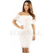 "THE ""LIV"" LUXURY LACE OFF SHOULDER BODYCON DRESS... OFF WHITE..."