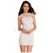 """THE """"VIVIANE"""" BEADED CAGED NECKLINE WHITE LACE BODYCON LUXE DRESS...."""
