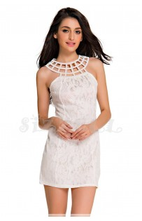 "THE ""VIVIANE"" BEADED CAGED NECKLINE WHITE LACE BODYCON LUXE DRESS...."
