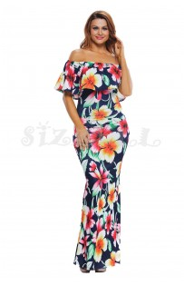 "THE ""RENA""  NAVY HIBISCUS FLORAL PRINT OFF SHOULDER LUXE MAXI DRESS..."