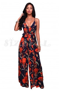 "THE ""ANITA"" LUXE FLORAL CHIC STRAPPY BACK JUMPSUIT...   NAVY FLORAL..."