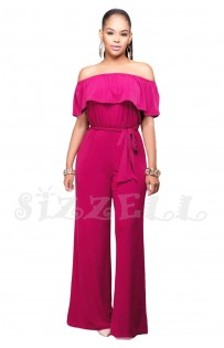 "THE "" ANNE"" LUXE OFF SHOULDER RUFFLE JUMPSUIT... MAGENTA..."