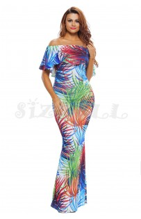 "THE ""RENA"" TROPICAL PALM  PRINT OFF SHOULDER MAXI DRESS..."