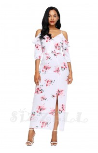 "THE ""ANNABELLE"" LUXE FLORAL COLD SHOULDER MAXI DRESS.... WHITE  FLORAL...."