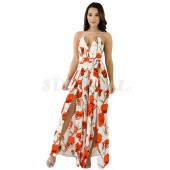 "THE ""ANITA"" LUXE FLORAL CHIC STRAPPY OPEN  BACK JUMPSUIT...  WHITE FLORAL..."