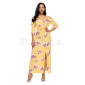 """THE """"ANNABELLE"""" LUXE FLORAL COLD SHOULDER MAXI DRESS.... GOLDEN YELLOW FLORAL...."""