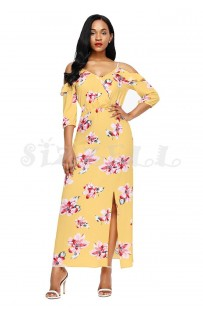 "THE ""ANNABELLE"" LUXE FLORAL COLD SHOULDER MAXI DRESS.... GOLDEN YELLOW FLORAL...."