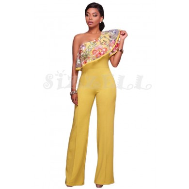 "THE ""EME"" ONE SHOULDER RUFFLE EMBROIDERED WIDE LEG LUXURY JUMPSUIT... BUTTERCUP..."