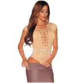 "THE "" LEELEE"" LACE UP BODY SUIT W/ CAP SLEEVES..  NUDE BEIGE..."