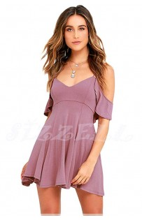 "THE "" WILLOW"" BOHO OFF SHOULDER RUFFLED DRESS W/ OPEN BACK SKATER DRESS.. IN IRIS.."