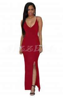 "THE ""MIA"" SEXY CRISSCROSS SPAGHETTI STRAP BACK W/ SIDE SLIT MAXI DRESS.. BURGUNDY..."