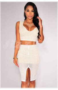 "THE "" LIVVE"" LASER CUT CROP TOP & MATCHING FRONT SLIT SKIRT..  WHITE..."