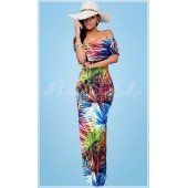 "THE ""RENA"" TROPICAL FLORIAL FAN PRINT OFF SHOULDER MAXI DRESS..."