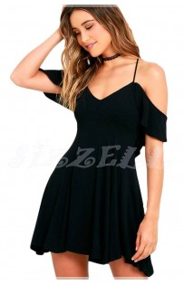 "THE "" WILLOW"" BOHO OFF SHOULDER RUFFLED DRESS W/ OPEN BACK SKATER DRESS.. IN BLACK.."