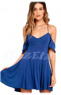 "THE "" WILLOW"" BOHO OFF SHOULDER RUFFLED DRESS W/ OPEN BACK SKATER DRESS.. IN COCALT BLUE.."