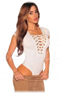 "THE "" LEELEE"" LACE UP BODY SUIT W/ CAP SLEEVES.. WHITE..."