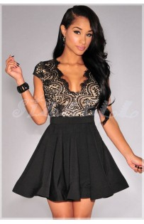 """THE """" JANICE"""" STUNNING LACE DRESS W/ SCALLOPED OPEN BACK & FLARED SKIRT..BLACK/NUDE"""
