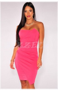 "THE ""NIVI"" ORIGAMI WRAP DESIGN STRAPLESS BODYCON DRESS..  PINK.."