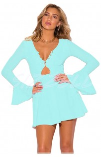 """THE """" FAY"""" SEXY BUTTON NECLKLINE & BELL SLEEVED FIT FLARE MINI BOHO DRESS..  TROP BLUE!!"""