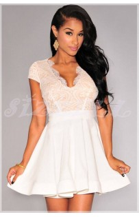 """THE """" JANICE""""  STUNNING LACE DRESS W/ SCALLOPED OPEN BACK & FLARED SKIRT.. WHITE/NUDE"""