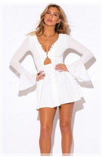"""THE """" FAY""""  SEXY BUTTON NECLKLINE &  BELL SLEEVED FIT FLARE MINI BOHO DRESS.. WHITE!!"""