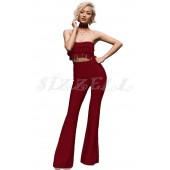 "THE ""DEVEN"" LUXURY BANDAGE FRILL BANDEAU TOP & HIGH WAISTED PANT SET.... WINE..."