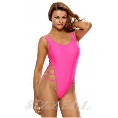 "THE "" RIVIERA ""  HIGH CUT LACE UP ONE-PIECE LUXE SWIMSUIT.... BARBIE PINK..."
