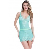 "THE ""BELLE"" LUXE SHEER & EYELASH LACE CHEMISE... LAGOON BLUE..."