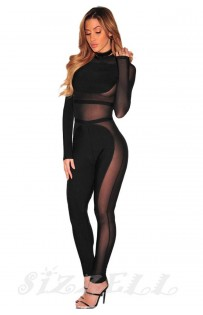 "THE ""CHANDRA"" LUXURY ULTRA SEXY CELEBRITY SHEER CUT OUT BANDAGE  JUMPSUIT..."