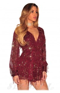 "THE ""EVETTE"" LUXURY SEQUINS ROMPER... BURGUNDY..."