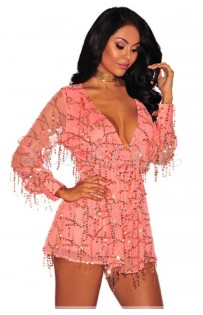 "THE ""EVETTE"" LUXURY SEQUINS ROMPER...  PINK CHAMPAGNE..."
