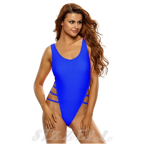 "THE "" RIVIERA "" HIGH CUT LACE UP ONE-PIECE LUXE SWIMSUIT....  ELECTRIC BLUE..."