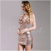 "THE ""KENDALL"" LUXURY CHOKER NECKLACE HALTER  METAL SEQUINS DRESS...  BRONZE GODDESS..."