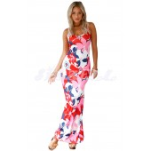 "THE "" DIANE"" LUXE FLORAL MAXI DRESS W/ DOUBLE CRISSCROSS.... PINK/ MULTI FLORAL..."