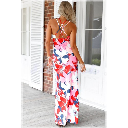 """THE """" DIANE"""" LUXE FLORAL MAXI DRESS W/ DOUBLE CRISSCROSS.... PINK/ MULTI FLORAL..."""