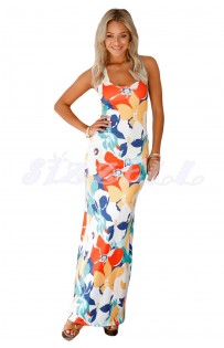 "THE "" DIANE"" LUXE FLORAL MAXI DRESS W/ DOUBLE CRISSCROSS.... BLUE/ MULTI FLORAL..."