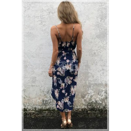 """THE """" JENNY"""" NAVY FLORAL PLUNGING NECKLINE LUXE FLORAL FRONT WRAP DRESS..."""