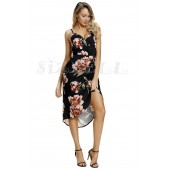 "THE "" JENNY"" BLACK FLORAL PLUNGING NECKLINE LUXE FLORAL FRONT WRAP DRESS..."