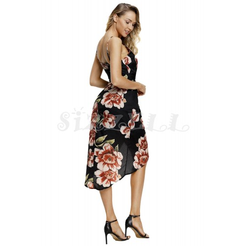 """THE """" JENNY"""" BLACK FLORAL PLUNGING NECKLINE LUXE FLORAL FRONT WRAP DRESS..."""