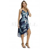 "THE "" JENNY"" BLUE/GREEN LEAF PRINT PLUNGING NECKLINE LUXE FLORAL FRONT WRAP DRESS..."