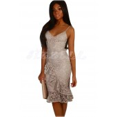 "THE ""FRIA"" LUXE CROCHET FLORAL LACE DOVE GREY DRESS W/ SIDE RUFFLE ..."
